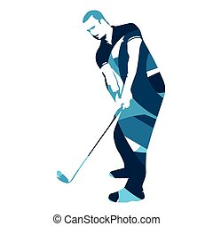 Abstract blue golf player, vector golfer illustration