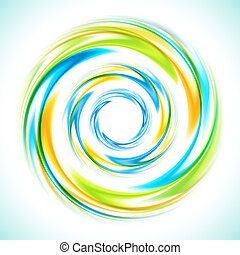 Abstract blue, green and yellow swirl circle bright background