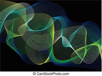 abstract blue, green narrow beams of light