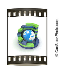 Abstract blue-green structure with earth in the center . The film strip