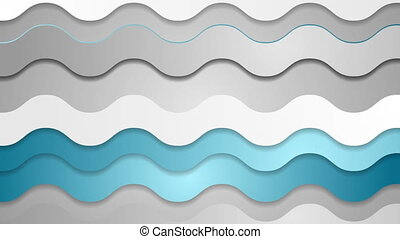 Abstract blue grey futuristic wavy video animation