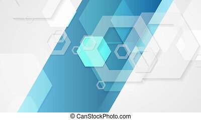 Abstract blue grey tech geometric video animation - Abstract...