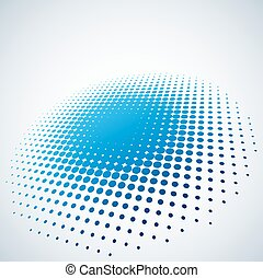 Abstract blue halftone spot vector background with copy space.