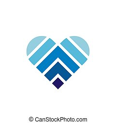 Abstract blue heart logo icon, symbol of love - Vector