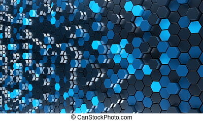Abstract blue hexagon geometry background.