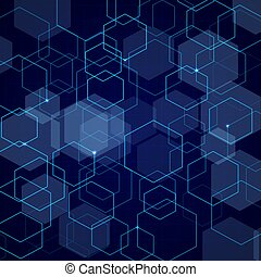 Abstract blue hexagon grid background