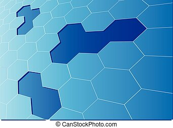 blue hexagon mesh 3D crack background