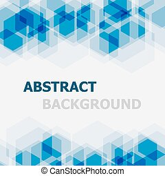 Abstract blue hexagon overlapping background