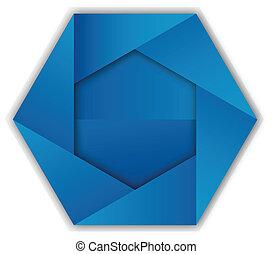 Abstract blue hexagon shape logo