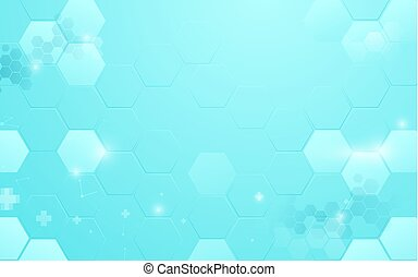 Abstract blue hexagon technology with medical and science concept