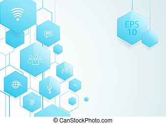 Abstract blue hexagons social icon technology concept background