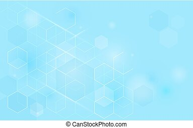 Abstract blue hexagons technology concept background. Space for your text