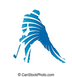 Abstract blue hockey player silhouette