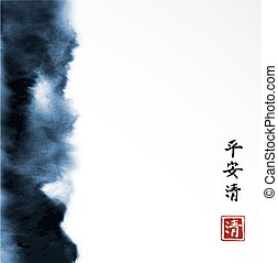 Abstract blue ink wash painting in East Asian style on white background. Grunge texture. Contains hieroglyphs - peace, tranquility, clarity.