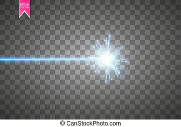 Abstract blue laser beam. Isolated on transparent black...
