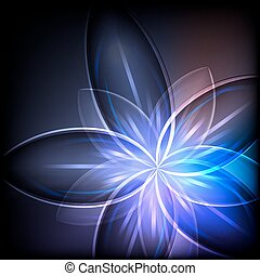 Abstract blue light flower vector background.