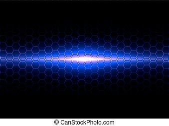 abstract blue light with hex pattern effect
