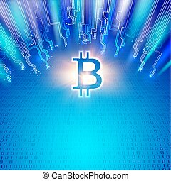 Abstract blue lights background with shining bitcoin symbol, mother board circuits and matrix of digits. Dogital blockchain network concept.