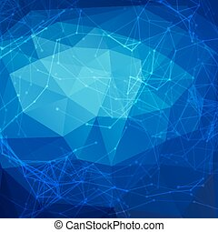 Abstract blue low poly bright technology vector background. Connection structure. Vector data science background. Polygonal vector background. Molecule And Communication Background.