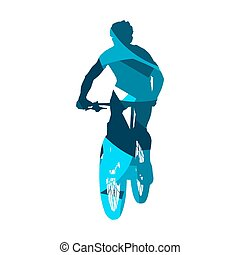Abstract blue mountain biker silhouette