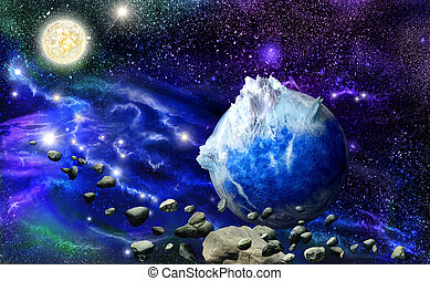 Abstract blue mountains planet