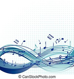 Abstract blue music background with notes