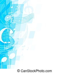 abstract blue musical background with key and notes, musical signs