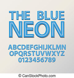 Abstract Blue Neon Font and Numbers