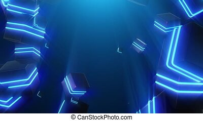 Abstract blue neon squares