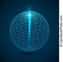 Abstract blue outline globe sphere background