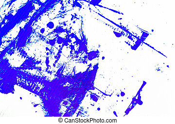 abstract blue paint, isolated on white background