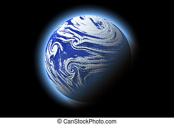 abstract blue planet with atmosphere, cosmos details -...