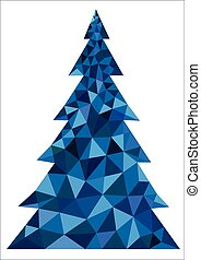 Abstract blue polygonal Christmas tree on a white background