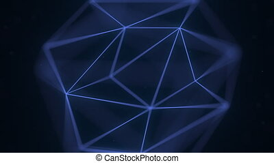 Abstract blue polygonal solid. Loopable 3D animation -...