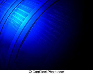 abstract blue power light over industrial construction, unknown science details