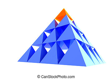 Abstract blue pyramid with orange top - Blue pyramid with...