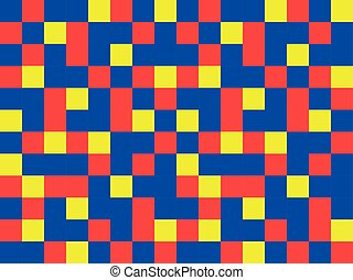 abstract blue red yellow garishly background of patterned...