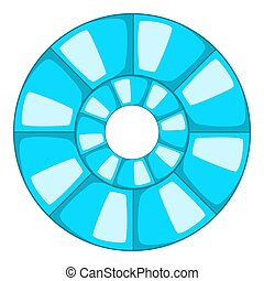Abstract blue round shape icon, cartoon style