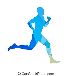 Abstract blue running man. Runner vector silhouette....