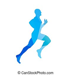 Abstract blue running man. Runner vector silhouette. Profile, side view