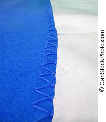 abstract blue seam edging, textile details