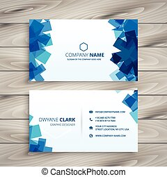 abstract blue shapes business card