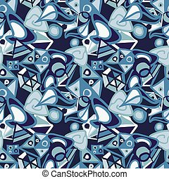 Abstract blue shapes, cute seamless pattern
