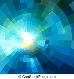 Abstract blue shining tunnel background