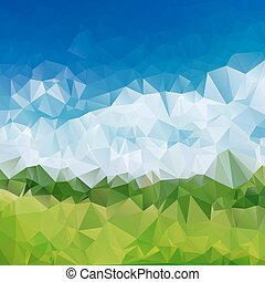 Abstract blue sky and green grass polygon