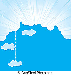 abstract blue sky frame with clouds, cutout and strips