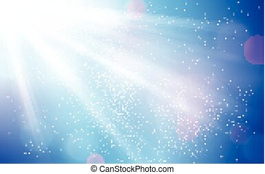 Abstract blue sky with sun burst and blurry light dots