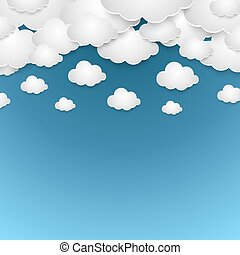 Abstract blue sky with white paper clouds vector background.