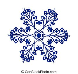 abstract blue snowflake on white background