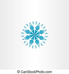 abstract blue snowflake vector icon symbol element